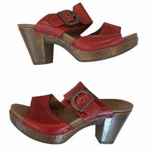 Dansko Red Leather Buckle Heels Size 39